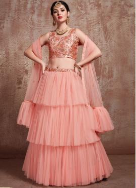 Peach Net Party Trendy Lehenga Choli