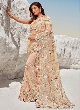 Peach Net Reception Bollywood Saree