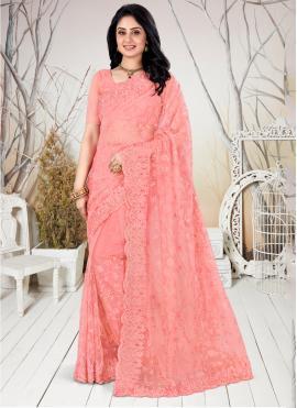 Peach Net Trendy Saree