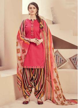 Peach Party Jacquard Patiala Salwar Suit