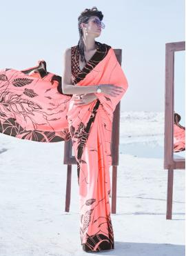 Peach Printed Festival Trendy Saree