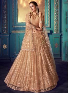 Peach Resham Net Bollywood Lehenga Choli