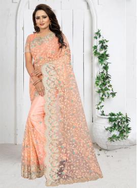 Peach Resham Trendy Saree