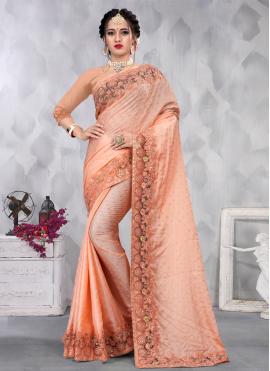 Peach Satin Designer Saree