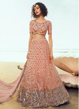Peach Sequins Wedding Lehenga Choli