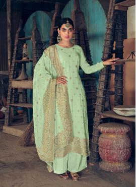 Peppy Green Jacquard Silk Designer Palazzo Salwar Kameez