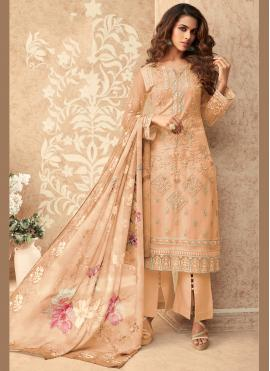 Peppy Peach Embroidered Designer Palazzo Suit