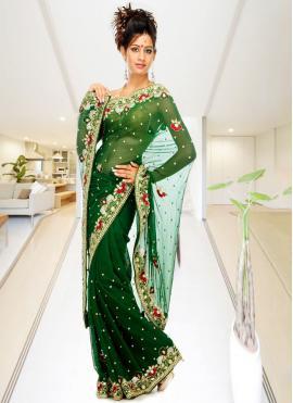 Perfect Handwork Georgette Green Classic Designer Saree