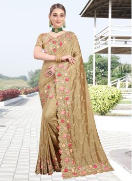 Perfect Stone Beige Silk Designer Bollywood Saree