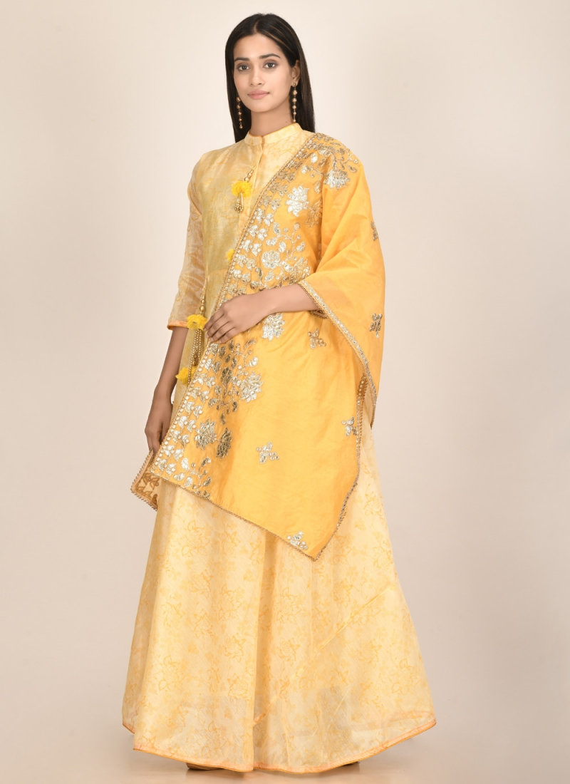 Perfect Yellow Chanderi Designer Kurti