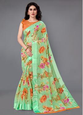 Perfervid Cotton Printed Casual Saree