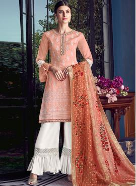 Perfervid Orange Chanderi Designer Pakistani Suit
