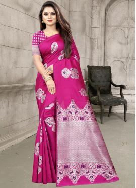 Perfervid Weaving Magenta Traditional Designer Saree