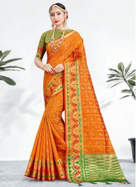 Phenomenal Banarasi Silk Orange Weaving Contemporary Saree