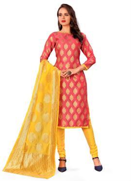 Phenomenal Banarasi Silk Rust Weaving Churidar Designer Suit