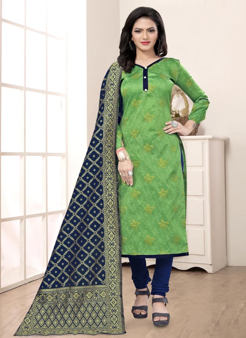 Phenomenal Banarasi Silk Weaving Green Churidar Salwar Suit