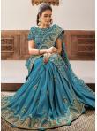 Phenomenal Blue Patch Border Georgette Classic Designer Saree - 1