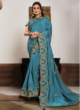 Phenomenal Blue Patch Border Georgette Classic Designer Saree