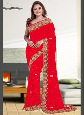 Phenomenal Embroidered Faux Georgette Classic Saree