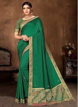 Phenomenal Green Lace Art Silk Traditional Designer Saree
