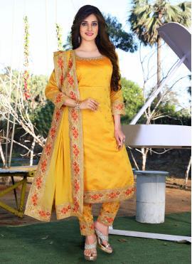 Phenomenal Mustard Embroidered Chanderi Readymade Suit