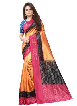 Phenomenal Raw Silk Orange Abstract Print Traditional Saree
