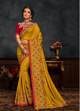 Picturesque Green Embroidered Silk Designer Saree