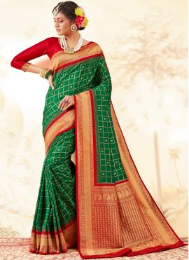 Picturesque Green Silk Trendy Saree