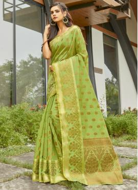 Picturesque Green Weaving Traditional Saree