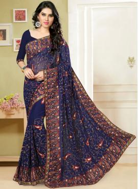 Picturesque Navy Blue Classic Saree