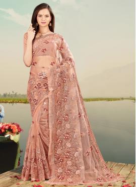 Picturesque Net Embroidered Designer Saree