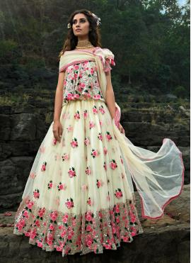 Picturesque Off White Sequins Net Designer Lehenga Choli