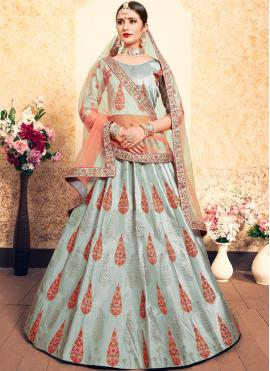 Picturesque Satin Mehndi Designer Lehenga Choli