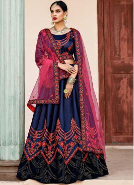 Picturesque Satin Patch Border Navy Blue Lehenga Choli