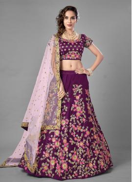 Picturesque Satin Sequins Purple Lehenga Choli
