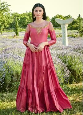 Picturesque Stone Pink Silk Designer Gown