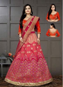 Pink and Red Embroidered Mehndi Lehenga Choli