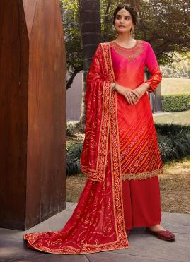 Pink and Red Satin Designer Palazzo Suit