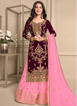 Pink and Wine Color Designer Pakistani Salwar Suit