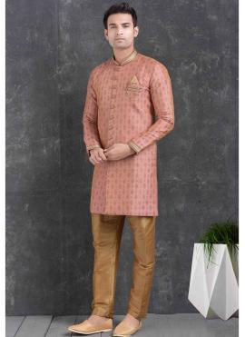 Pink Ceremonial Jacquard Silk Indo Western
