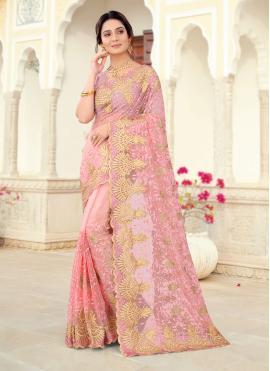 Pink Ceremonial Net Designer Saree
