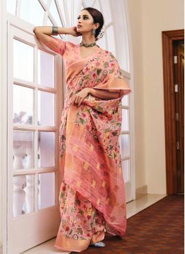 Pink Color Printed Saree