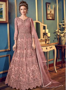 Pink Color Trendy Long Choli Lehenga