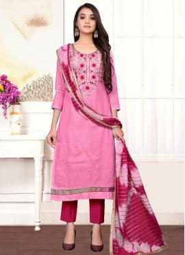 Pink Cotton Festival Designer Straight Suit