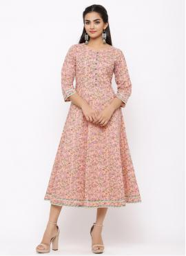 Pink Cotton Party Casual Kurti