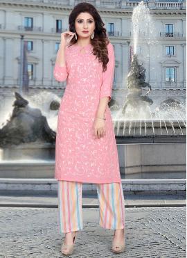 Pink Cotton Party Party Wear Kurti