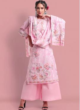 Pink Cotton Print Designer Palazzo Suit