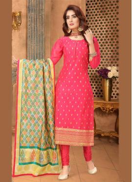 Pink Embroidered Art Silk Bollywood Salwar Kameez