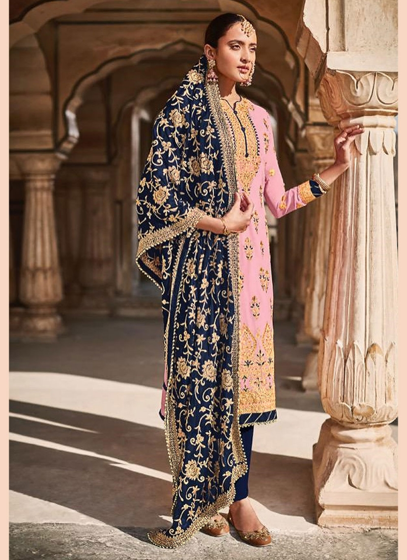 Pink Embroidered Faux Georgette Designer Straight Suit