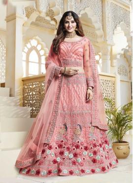 Pink Embroidered Mehndi Lehenga Choli